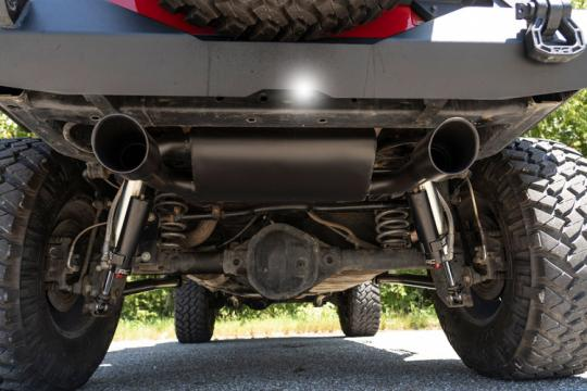 Black Jeep JK Exhaust Kit with black tips